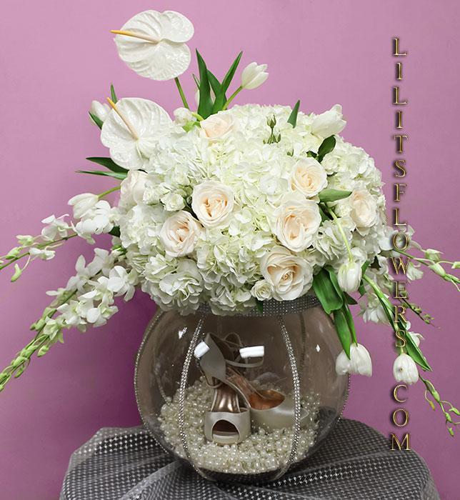 Engagemnet Florst In Glendale Ca Flower Delivery Fish Bowl Gift Basket For Wedding Shoes