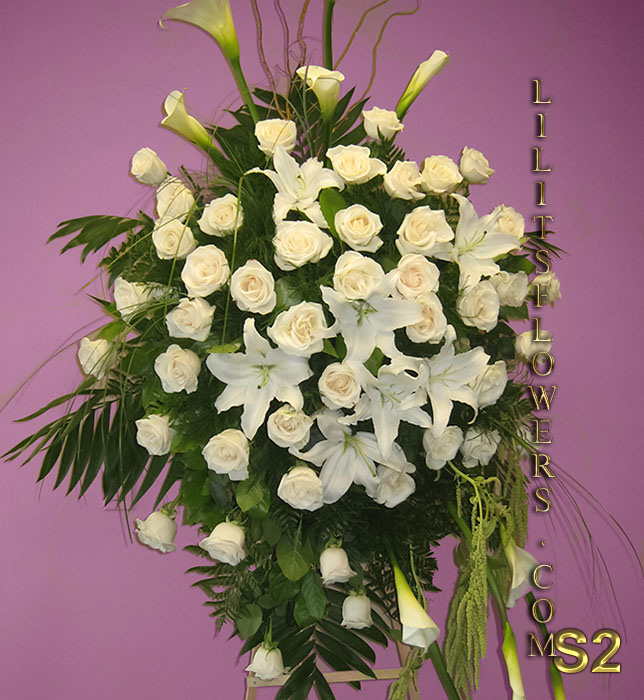 Sympathy Florist in Glendale Flower Delivery - funeral spray flowers with                                                      white lilies and roses 													Make sure to share with us your arrangement.                                                     https://goo.gl/maps/Jgj1JeCetJv -  funeral spray flowers - Glendale  Sympathy flowers Florist funeral spray