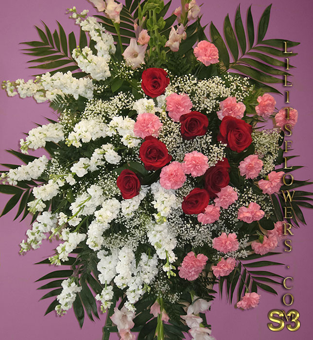Sympathy Florist Burbank Hollywood Hills Flower Delivery - Funeral Spray with carnations and white stocks. -  Lilit's Flowers is the premier sympathy online flower shop for the Glendale and the surrounding towns. Order flowers online from Glendale Florist for same day local flower delivery from conveniently located shops in Southern California to send flowers to Glendale, Los Angeles,  Hollywood, Echo Park, Silver Lake, Atwater Village, Burbank, Sherman Oaks, La Cañada, Flintridge, Pasadena, San Marino, Alhambra, Arcadia, Thousand Oaks, Tarzana, Tujunga, La Crescenta,Toluca Lake, Burbank Hollywood Hills and more.  Make sure to share with us your arrangement.  https://goo.gl/maps/Jgj1JeCetJv - carnations and white stocks - Glendale Florist Funeral Spray with carnations and white stocks
