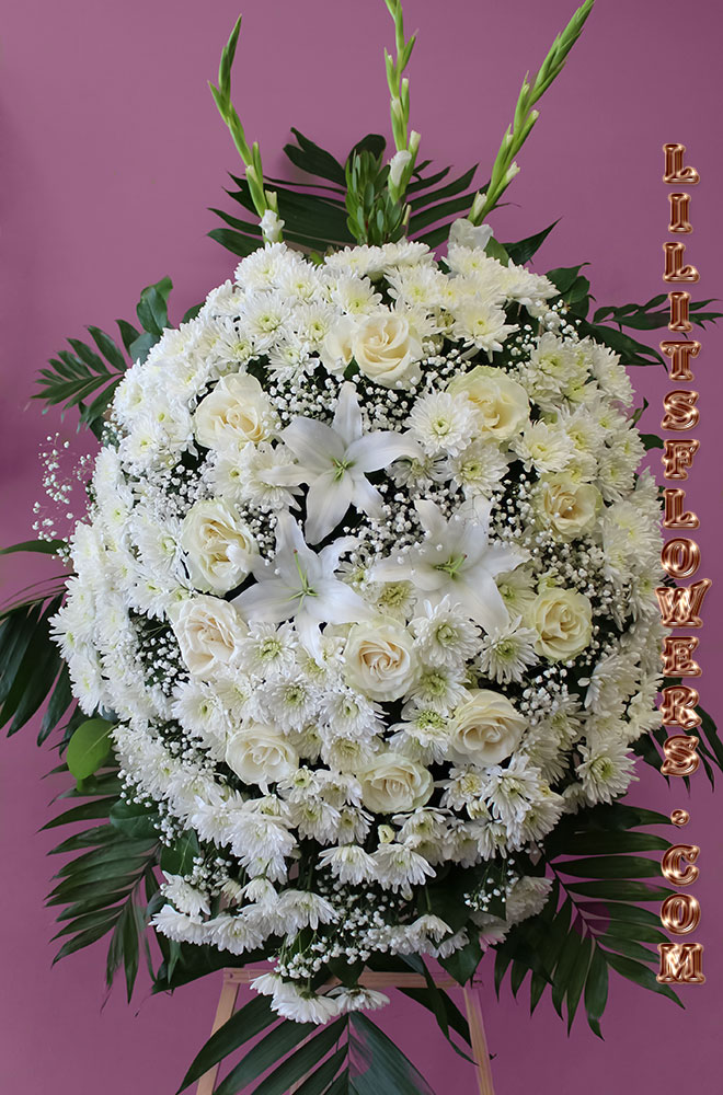 Funeral Florist in Glendale, CA Flower Delivery -beautiful spray composed of white roses, white lilies, white pumpams- Lilit's Flowers is the premier sympathy flower shop for Glendale Forest Lawn and the surrounding towns. Order flowers online from Glendale Florist for same day local flower delivery from conveniently located shops in Southern California to send flowers to Glendale, Los Angeles,  Hollywood, Echo Park, Silver Lake, Atwater Village, Burbank, Sherman Oaks, La Cañada, Flintridge, Pasadena, San Marino, Alhambra, Arcadia, Thousand Oaks, Tarzana, Tujunga, La Crescenta,Toluca Lake and more.  Make sure to share with us your arrangement.  https://goo.gl/maps/Jgj1JeCetJv - white spray  - Forest Lawn Glendale, CA