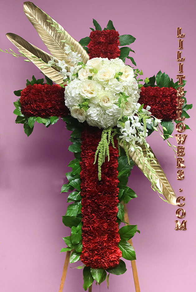 elegant red and white cross